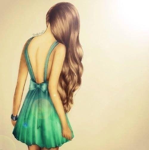 cute, drawings, dress, girls, green, hair, tumblr