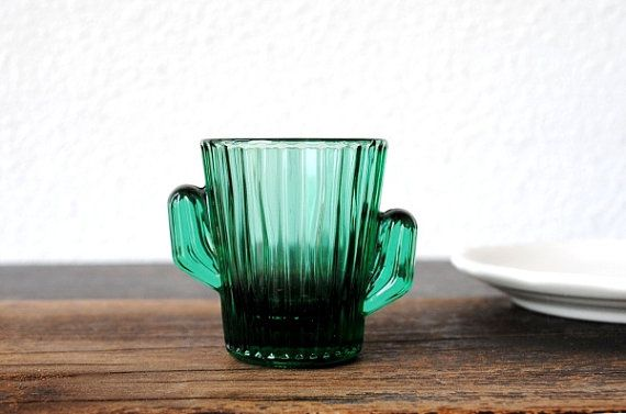 Vintage Libbey Shot Glass Green Cactus, Ribbed Southwestern Glassware Barware