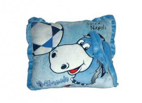CIUCCIO CUSCINO ORECCHIE  Cuscino in peluche con asinello Forza Napoli con orecchie in rilievo 3D-colori azzurro e bianco