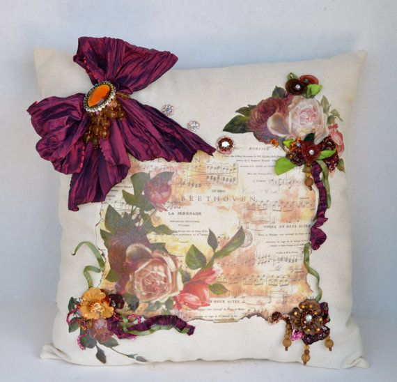Decoupage on fabric--Musical Print Opera Beethoven Floral Cottage by OliviabyDesign