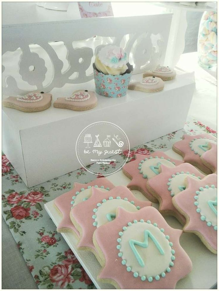 Sugar cookies at a romantic shabby chic baptism birthday party! See more party ideas at CatchMyParty.com!