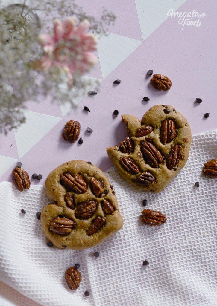 Cœurs tous mous aux noix de Pécan caramélisées et au chocolat noir – IG bas – Megalow Food