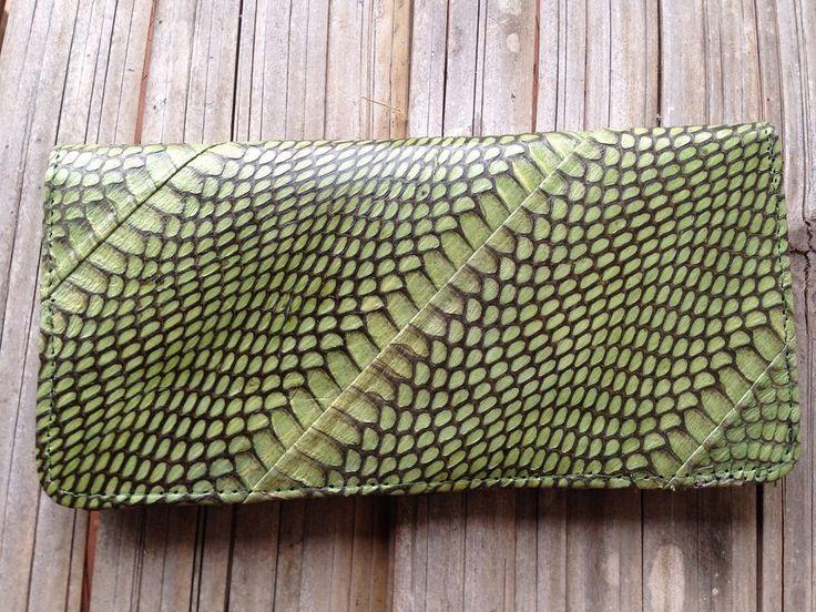 GENUINE COBRA SNAKE SKIN LEATHER WALLET LONG BIFOLD MENS / WOMENS PURSE GREEN #Handmade #Bifold