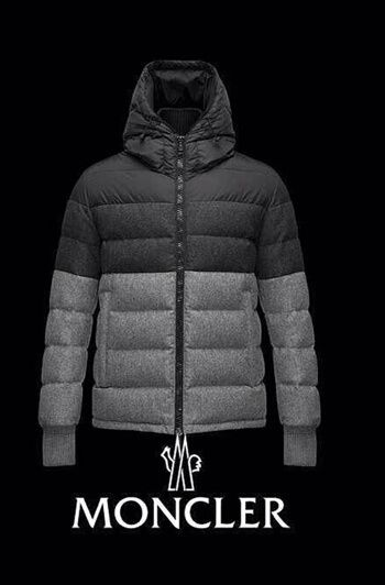 2014 Moncler Mens Down Jackets Gray And Black Hooded Sale