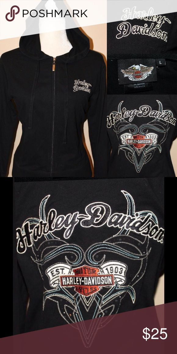 HARLEY DAVIDSON Black Embroidered Hoodie Black Women's Hoodie from Harley Davidson - all details are raised embroidered NOT CHEAP heat transfers. This is a good one Harley-Davidson Tops Sweatshirts & Hoodies