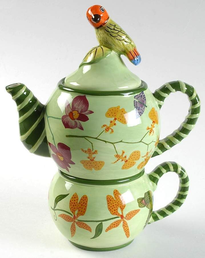 Lynn Chase PARROTDISE (earthenware) Individual Teapot & Cup - Tea for One - Bird Teapot