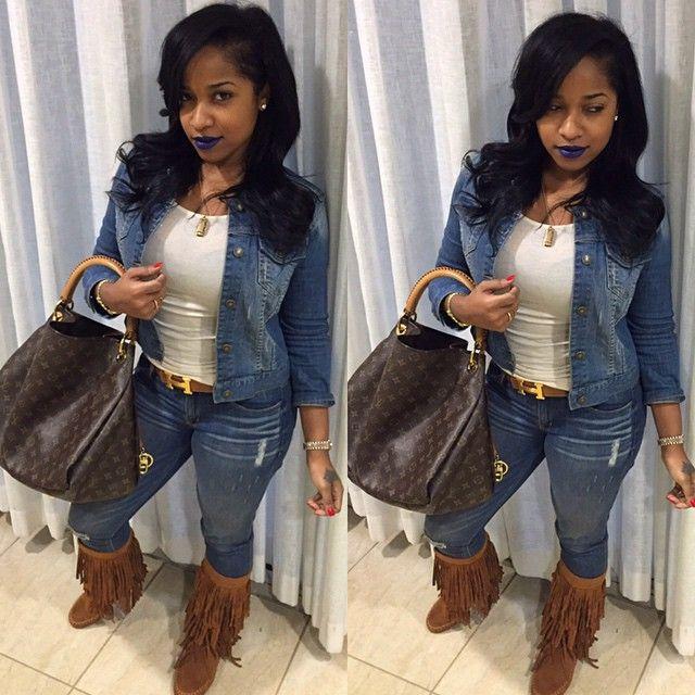 Toya Wright Denim On Denim Outfit Dope Pretty Girl Swag Hermes Belt Tassel Boots Louis Vutton Handbag Celebrity Fashion Streetwear Urban Style