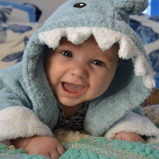 A shark robe is so fitting for a baby named Finn and this happy little shark is sure to make you smile!   #BabyAspen #BabyAspenGifts #SharkRobe
