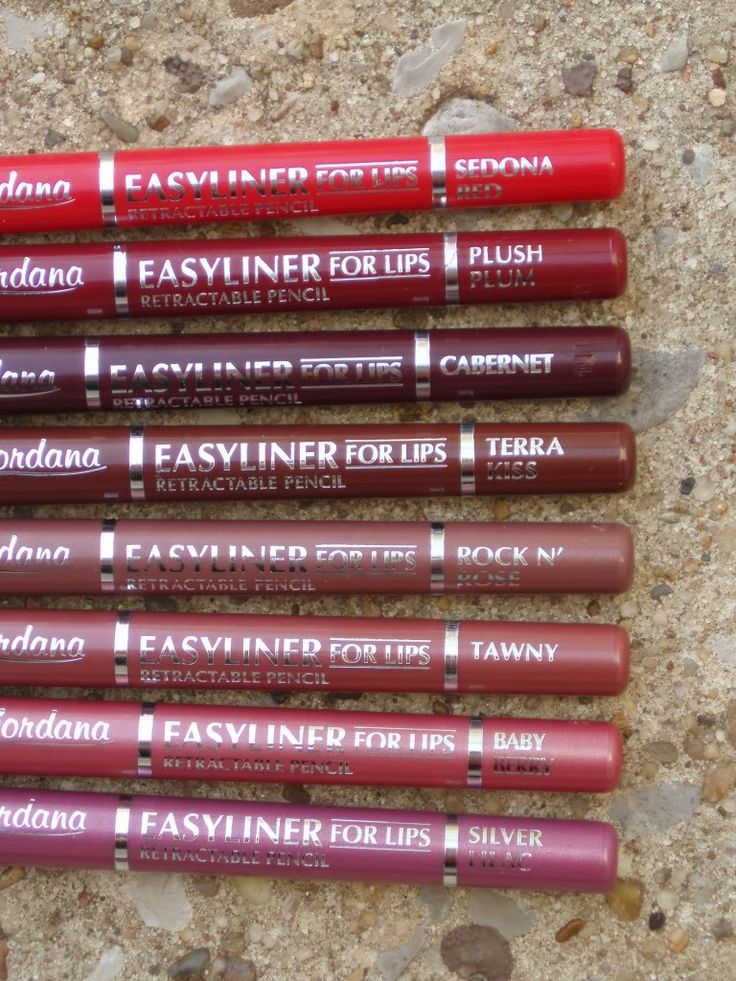 Jordana Easyliner For Lips Retractable Pencil (shot to show the shade names clearly)