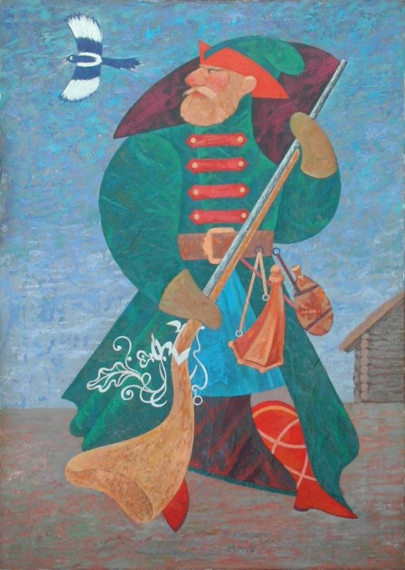 Russian Soldier and a Magpie  oil canvas on by SergioArteStudio