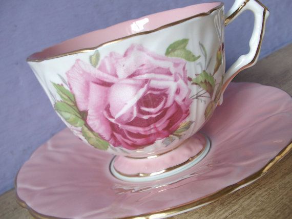 Antique 1930's Aynsley tea cup and saucer, pink tea cup set, vintage English tea set, pink rose bone china tea cup