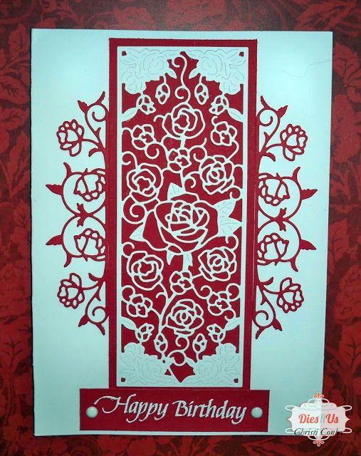 Dies R Us: Elegant Red and White Happy Birthday