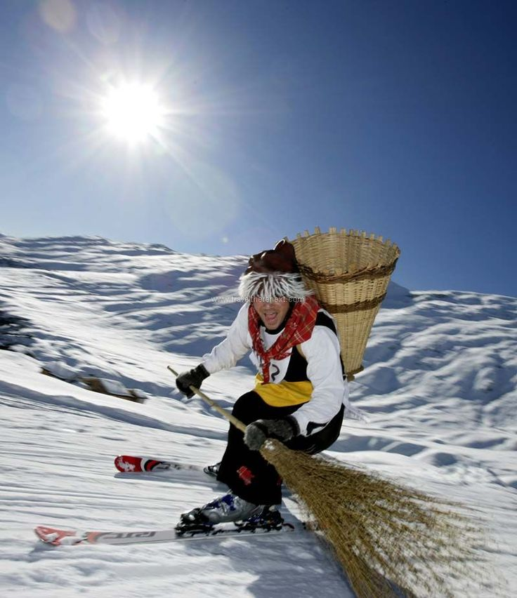 Blatten - Skier skiing with a broom  #switzerland #blattenbelalp #witch #festival #snow #ski #fun #adventure #interesting #travel #traveltherenext