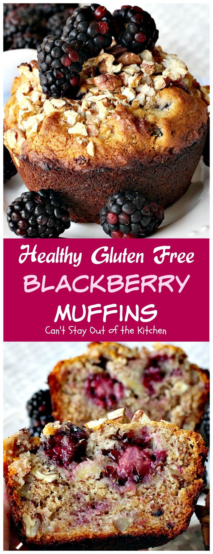 Healthy Gluten Free Blackberry Muffins | Can't Stay Out of the Kitchen |