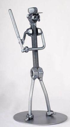 Baseball Player Batter - MetalDiorama Metal Art Sculpture