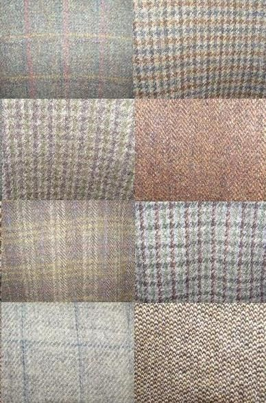 Images of some of the fabrics of the Harris Tweed jackets that we offer for sale.