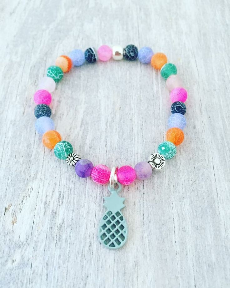 """Pineapple bracelet 6mm Frosted Dragon Veins Agate 6.5"""""""