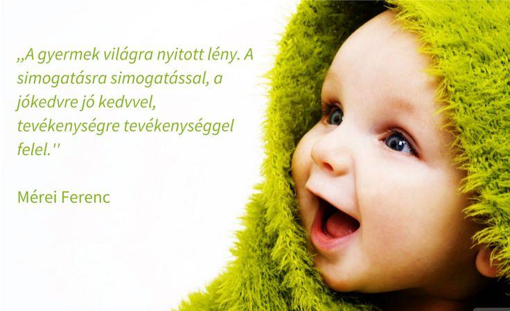 Idézet: ,,A gyermek világra nyitott lény. A simogatásra simogatással, a jókedvre jó kedvvel, tevékenységre tevékenységgel felel.''  Mérei Ferenc