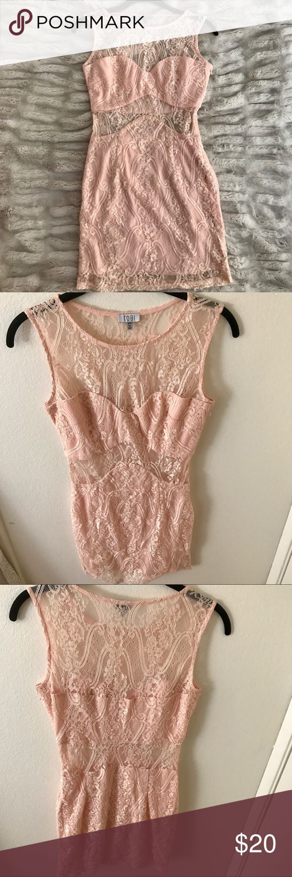 Tobi Light Pink Lace Cutout Bodycon Dress Tobi light pink lace cutout bodycon dress size Small/Petite. Lace cutout around the torso and shoulders. Color is light pink with a touch of peach. Looks great with wedges or strappy heals. Perfect for nights out or Sunday brunch! Make an offer! Tobi Dresses Mini