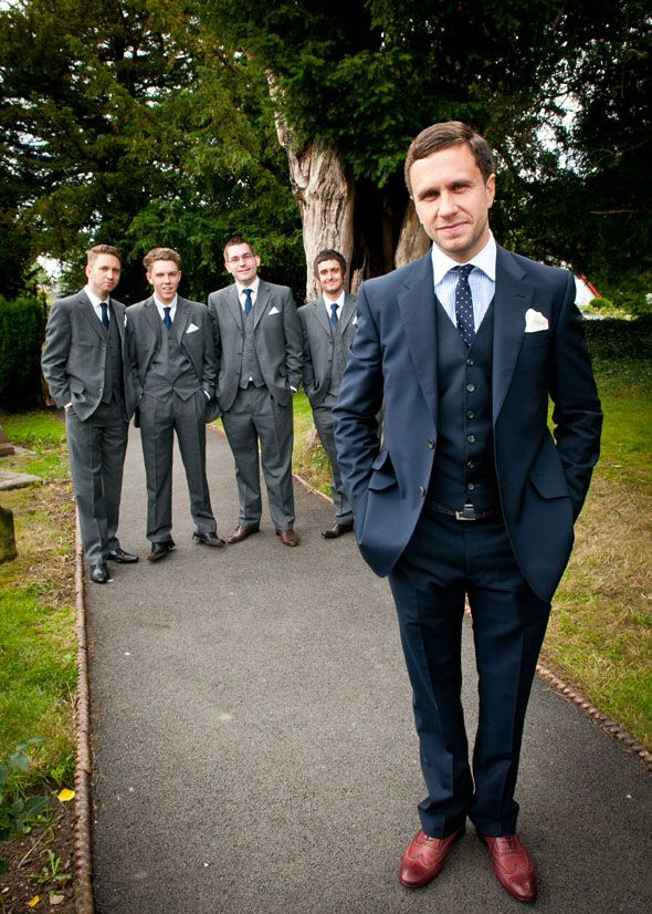 I love the idea of the groom in navy and the groomsmen in dark ...