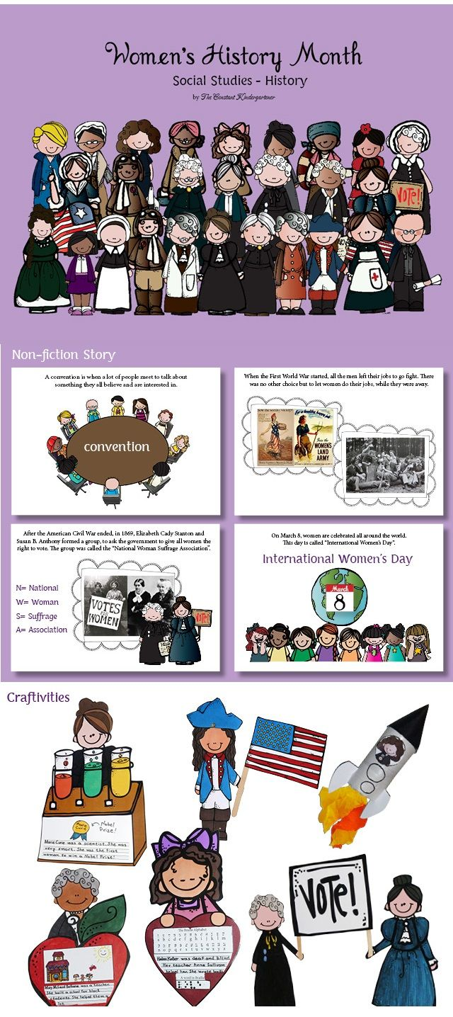 Women's History Month for children in kindergarten and first grade explained with a non fiction story.This unit now contains 28 unique templates for craftivities to help the children practice writing, remember and better comprehend the important achievements of these women. $