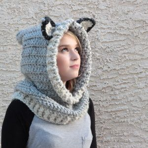 Hooded Wolf Cowl - Wolf Cowl with Hood. This over sized crocheted hooded grey wolf cowl is handcrafted and designed with comfort and warmth in mind. It is perfect for a cold winter day or as a photo prop for pictures.  The crochet wolf hood can be worn up or down. The wolf cowl can be pulled down to cover the shoulders or worn scrunched up around the neck.