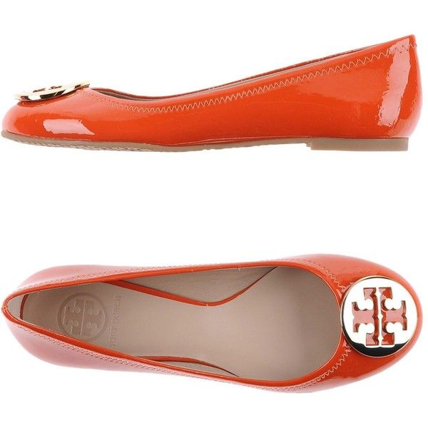 Tory Burch Ballet Flats ($306) ❤ liked on Polyvore featuring shoes, flats, orange, round toe ballet flats, ballet shoes, orange ballet flats, leather flat shoes and ballerina flat shoes