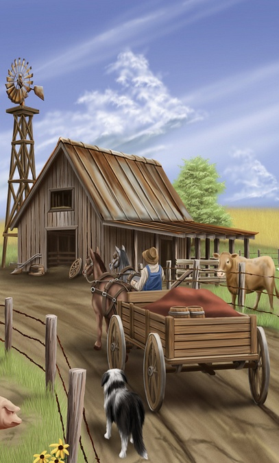 Barn & Old Wagon...Painting