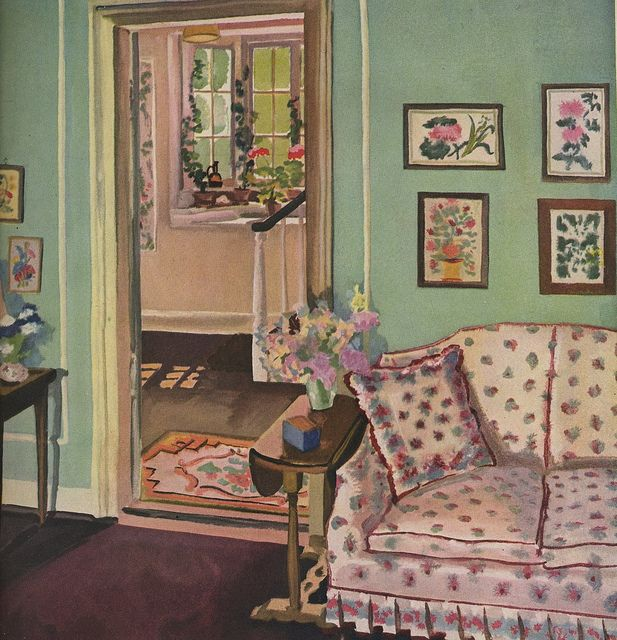 57 best 1930s 1940s interiors images on pinterest for Apple green living room ideas
