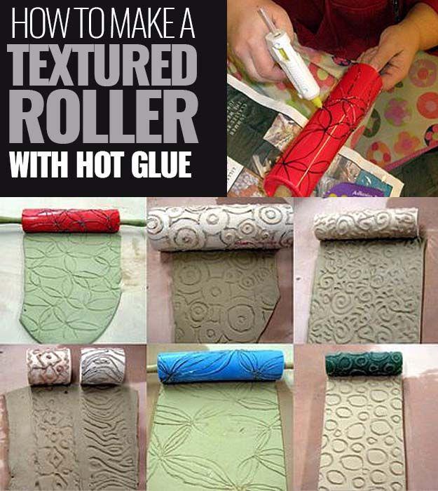 Crafts divertidas a fazer com uma pistola de cola quente |  Melhores Hot Glue Gun Artesanato, Projetos DIY e Artes e Ofícios idéias usando pistola de cola Sticks |  Faça um rolo texturizados com pistola de cola |  http://diyjoy.com/hot-glue-gun-crafts-ideas