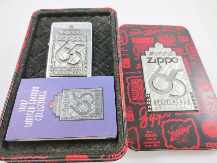 ZIPPO USA Cigarette Lighter New Old Stock w Case 65TH ANNIVERSARY 1932-1997