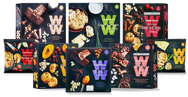 love the modern look of the Weight Watchers treats packagings I styled