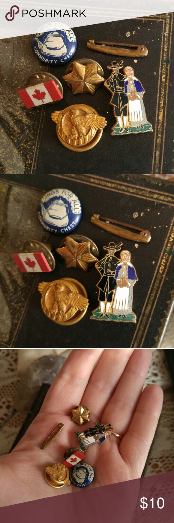 Bunch of little old pins - military enamel antique Cool bunch of interesting tiny pins, made different eras ranging from 1910s to 1970s - pilgrim couple enamel on brass, C clasp - Canada flag - eagle collar button -star pin- lingerie pin c clasp - Community Chest Sings for All button pin with teapot - all are in good shape though may show age patina to metal and light surface wear - from a smoke free home :) Price firm unless bundled  MAUSA88388PINS888 Vintage Jewelry Brooches