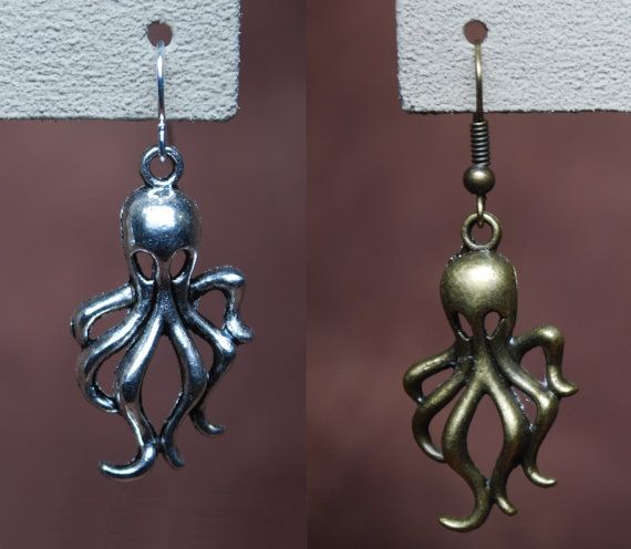 Sexapus earrings by AbandonedWarehouse on Etsy #octopus #cthulu