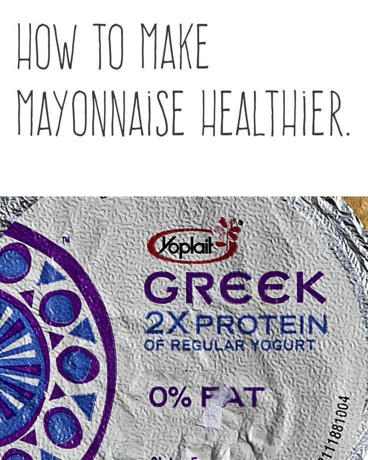 How to make mayonnaise healthier. | Substitute half the mayo with Greek-style yogurt. Dressing will be still creamy but more healthy. | More cooking tips and hacks https://happyforks.com/hack/284