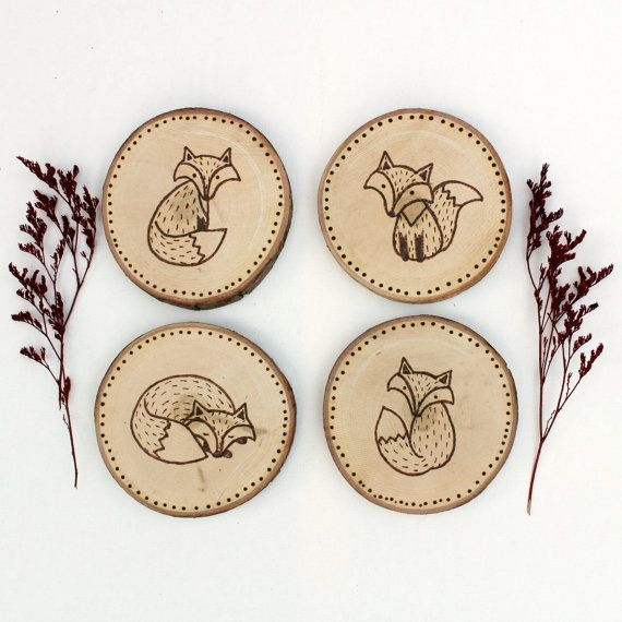 Folk Foxes Wood Coasters, Fox wood-burned coasters, Fox coasters, fox wall hanging