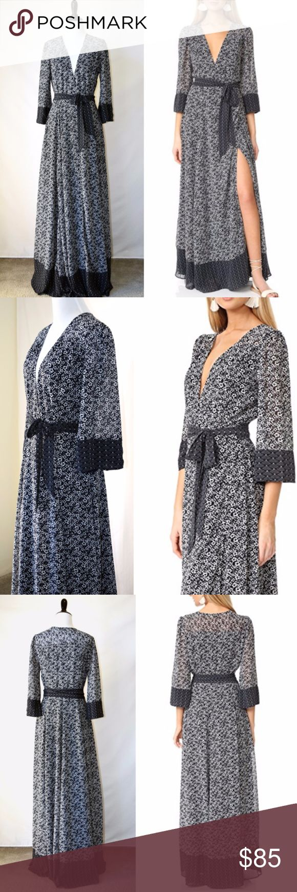 NWOT Tularosa Maxi Wrap Navy Dress New without tag Tularosa  A floral-print TULAROSA wrap-dress, in a glamorous, maxi silhouette The self-belt tie and edges are trimmed with fan-print banding 3/4 sleeves Lined  Fabric: Chiffon. 100% polyester. Hand wash. Length: 57in / 145cm, from shoulder (Measurements from size S) No care label Tularosa Dresses Maxi