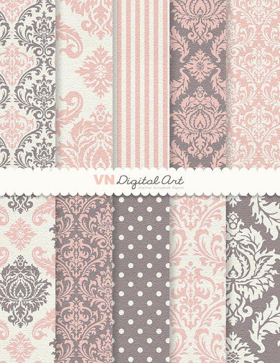 """Digital Paper, Instant Download, Textured Damask Digital Scrapbook Paper Pack (8.5x11""""-300 dpi) -- 10 Digital papers -- 153"""