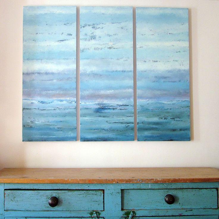 Powder Blues Triptych. Oil on canvas by Liz Jameson SOLD  www.lizjameson.com