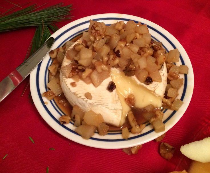 Brie fondant aux poires et aux noix -avec pistache