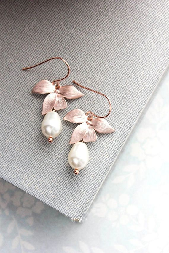 Rose Gold Drop Earrings Orchid Dangle Flower Earrings Ivory