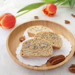 Whole Wheat Biscotti with Pecans- I'd use half the sugar and almonds ...