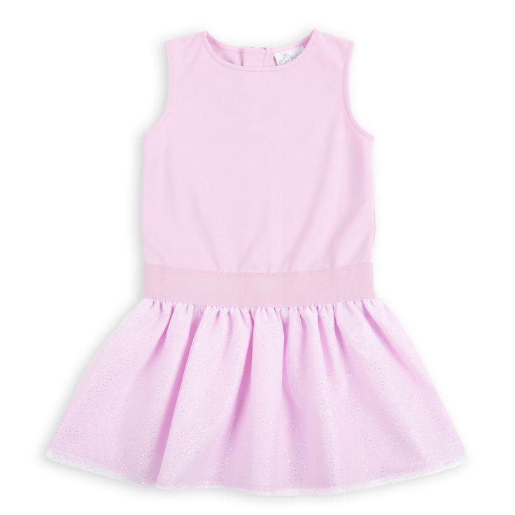 Vestido EPK para niña de color rosado y falda de tul con detalles plateados.