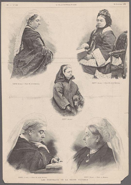 Lesportraits de la Reine Victoria. 1872 (53 ans.) -- Phot. W. et D. Downey.  1877 (58 ans.) -- Phot. W. et D. Downey.  1867 (48 ans.)  1890 (71 ans). -- Phot. W. et D. Downey.  1897 (78 ans). -- Phot. A. Bassano. From New York Public Library Digital Collections.