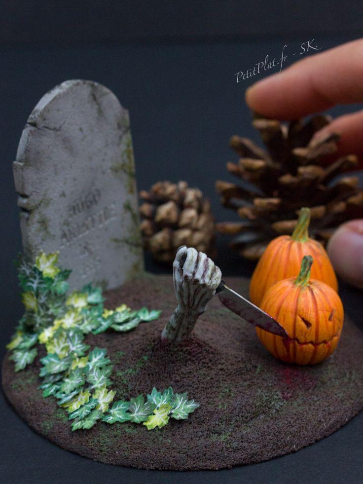 Zombies want to carve pumpkins too, Sculpture by Stephanie Kilgast, PetitPlat Miniature Art