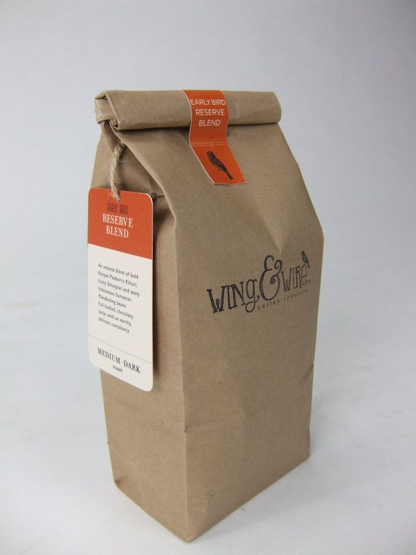 PACKAGING: One of the best designs I've seen so far. 1. It's clean BUT still homemade looking. 2. Love the sticker & matching tag. 3. It's simple, yet still informative. Wing & Wire coffee roastery by Sarah Bennett, via Behance