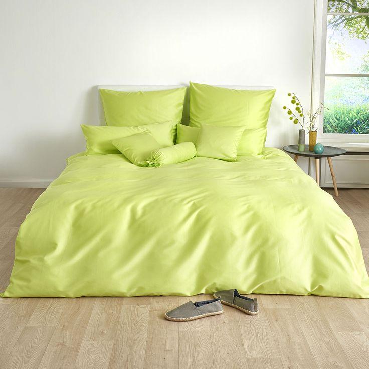 Traumschlaf Uni Mako-Satin Bett- und Kissenbezüge in kräftigem Apfelgrün. Ein zeitloses und edles Design sorgen für Harmonie. Die Bettwäsche ist pflegeleicht und mit einem praktischen Reißverschluss ausgestattet.#bettwäsche #bedding #spring #frühling #apfelgrün #green www.bettwaren-shop.de