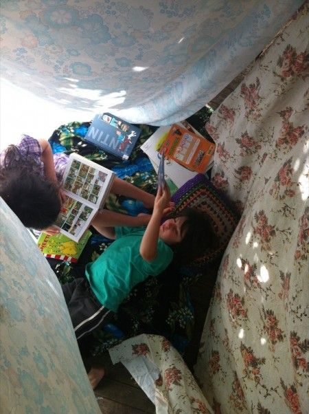 Sheet hut just add books and children inside