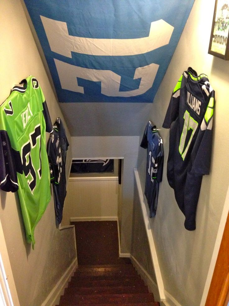 NFL Man Cave Entrance - Ultra Mount Jersey Displays pave the way! Seattle Seahawks Man Cave