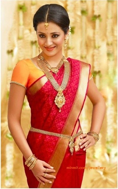 trisha_wearing_bridal_gold_jewellery_oddiyanam